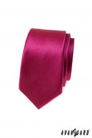 Keskeny nyakkendő fényes bordó