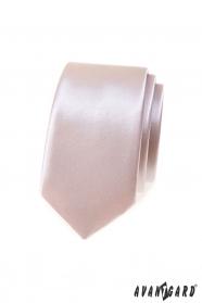 Fényes keskeny nyakkendő por színben