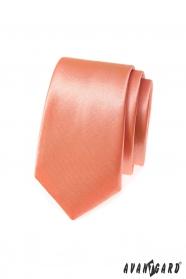 Egyszínű keskeny nyakkendő - lazac