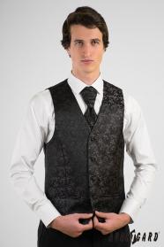 Fekete mintás férfi mellény francia nyakkendővel