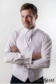 Férfi esküvői mellény fehér fényes minta