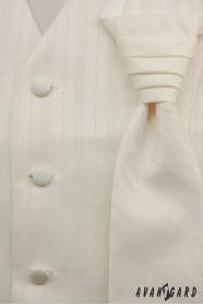 Férfi esküvői mellény krém szín, széles csíkokkal