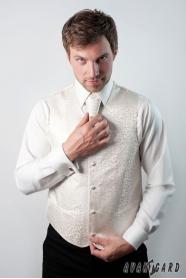 Krémes férfi mellény francia nyakkendővel