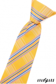 Sárga fiú nyakkendő kék csíkkal