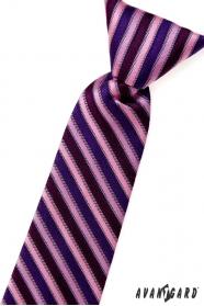 Fiú nyakkendő rózsaszín, kék és lila csíkos