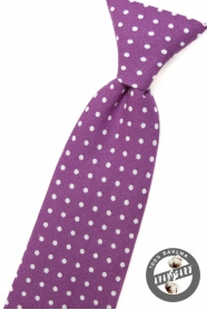 Lila fiú nyakkendő fehér pontokkal