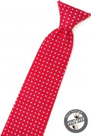 Piros fiú nyakkendő fehér pontokkal
