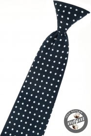 Sötét kék fiú nyakkendő fehér pöttyökkel