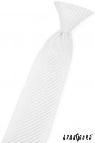 Fehér fiú nyakkendő, fényes csíkkal