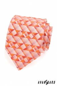 Férfi mintás nyakkendő narancssárga háromszög
