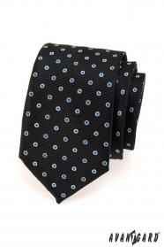 Fekete férfi nyakkendő kék, fehér pontokkal