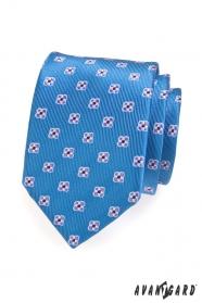 Kék férfi nyakkendő virágokkal mintázva