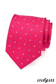 Férfi nyakkendő, fukszia, kék és fehér négyzetek