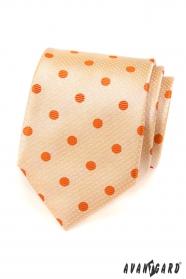 Férfi lazac nyakkendő, narancssárga pontokkal