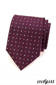 Férfi nyakkendő, lila pontokkal