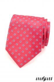 Rózsaszín férfi nyakkendő, kék fehér négyzetek