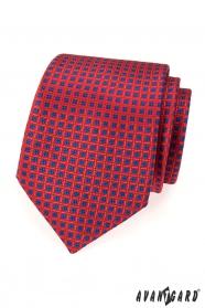 Piros AVANTGARD nyakkendő kék mintával