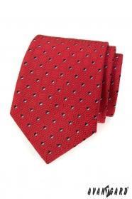 Férfi piros nyakkendő fekete-fehér négyzetekkel