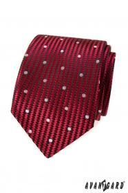 Piros strukturált nyakkendő nagy fehér pontokkal