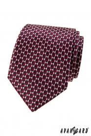 Bordó nyakkendő háromszög mintával