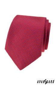 Piros nyakkendő kis kék pontokkal