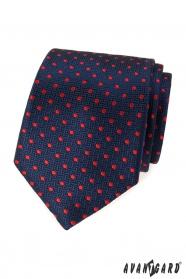 Kék mintás nyakkendő piros pontokkal