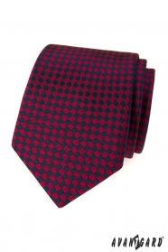 Férfi nyakkendő bordó kék négyzetek