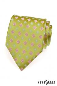 Zöld férfi nyakkendő a mintával