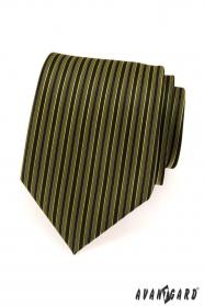 Férfi nyakkendő zöld és fekete csíkok