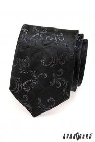 Fekete nyakkendő finom mintázat