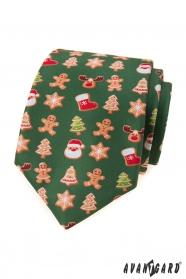 Zöld nyakkendő karácsonyi motívummal