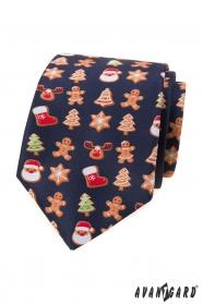 Kék nyakkendő karácsonyi motívummal