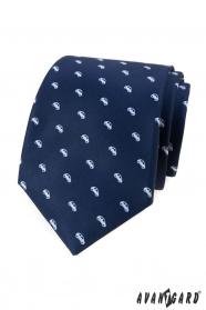 Kék nyakkendő fehér motívummal