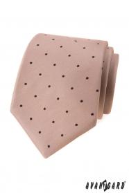 Bézs színű nyakkendő fekete pöttyös