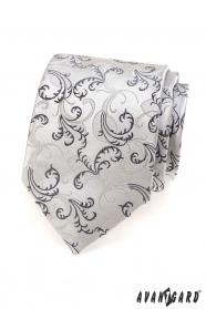 Férfi nyakkendő fekete, szürke motívum