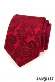 Piros nyakkendő minta paisley