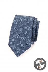 Kék pamut nyakkendő virágokkal