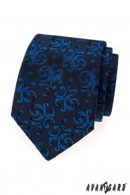 Sötétkék nyakkendő fényes kék mintával