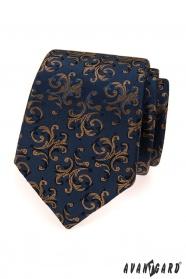 Kék nyakkendő barna díszekkel