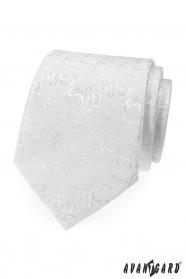 Fehér nyakkendő finom fényes mintával