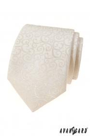 Krémes nyakkendő, fényes mintával