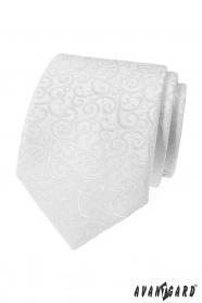 Férfi nyakkendő fehér, fényes mintával