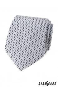 Világosszürke nyakkendő kék mintával
