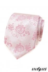 Rózsaszín nyakkendő rózsákkal