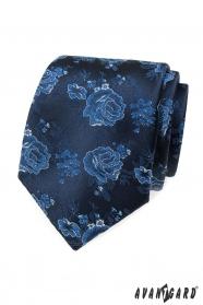 Kék nyakkendő rózsákkal