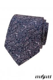 Sötétkék nyakkendő rózsaszínű paisley-vel