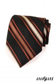 Fekete férfi nyakkendő narancssárga csíkkal