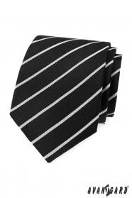 Fekete nyakkendő fehér csíkkal