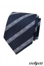 Kék strukturált nyakkendő, fehér csíkkal