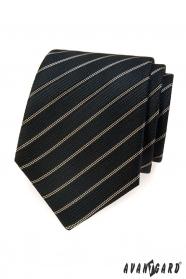 Fekete nyakkendő, barna csíkkal